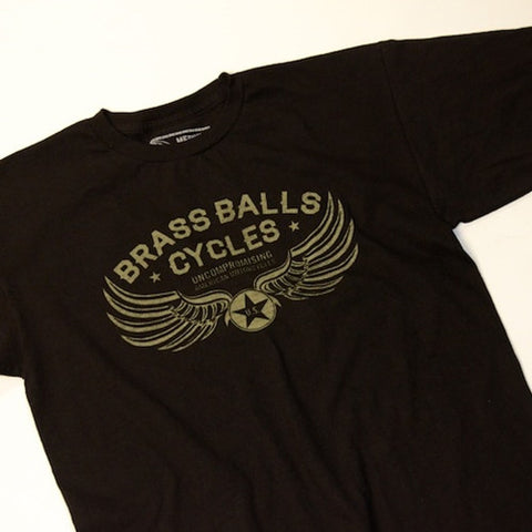 black cotton tshirt brass balls cycles wings logo