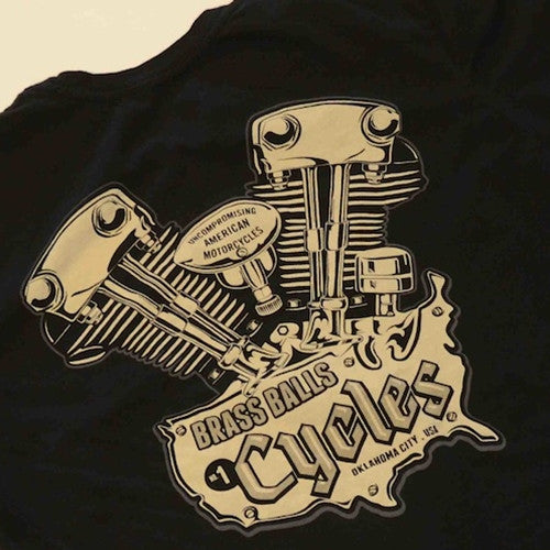Brass Balls Cycles Knuckle Tshirt - Black