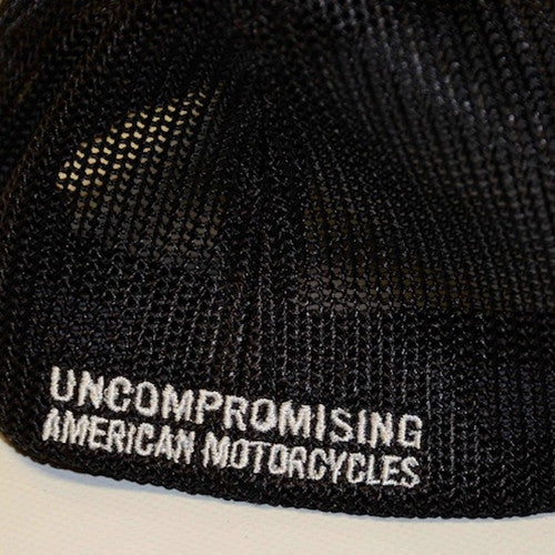 brass balls cycles black mesh trucker hat