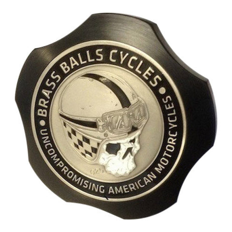 Brass Balls Cycles Challenge Coin Fuel Cap - Black
