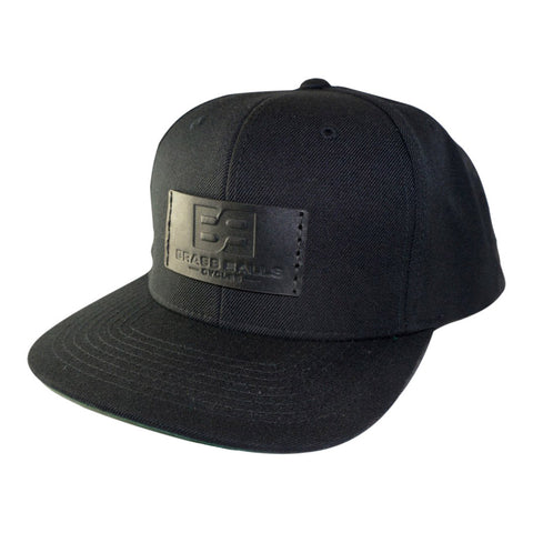 Leather Patch Cap, BB Logo, Snap-back - Black