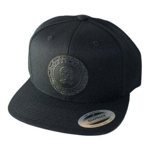 Leather Patch Cap, Piston/Helmet logo, Snap-back - Black