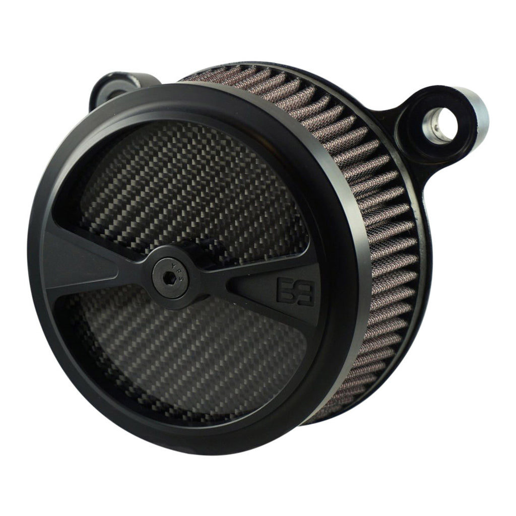 "Air Cleaner, Harley Davidson Big Twin motorcycles, 5-1/2"" diameter, black, carbon fiber, brass balls cycles, f1"