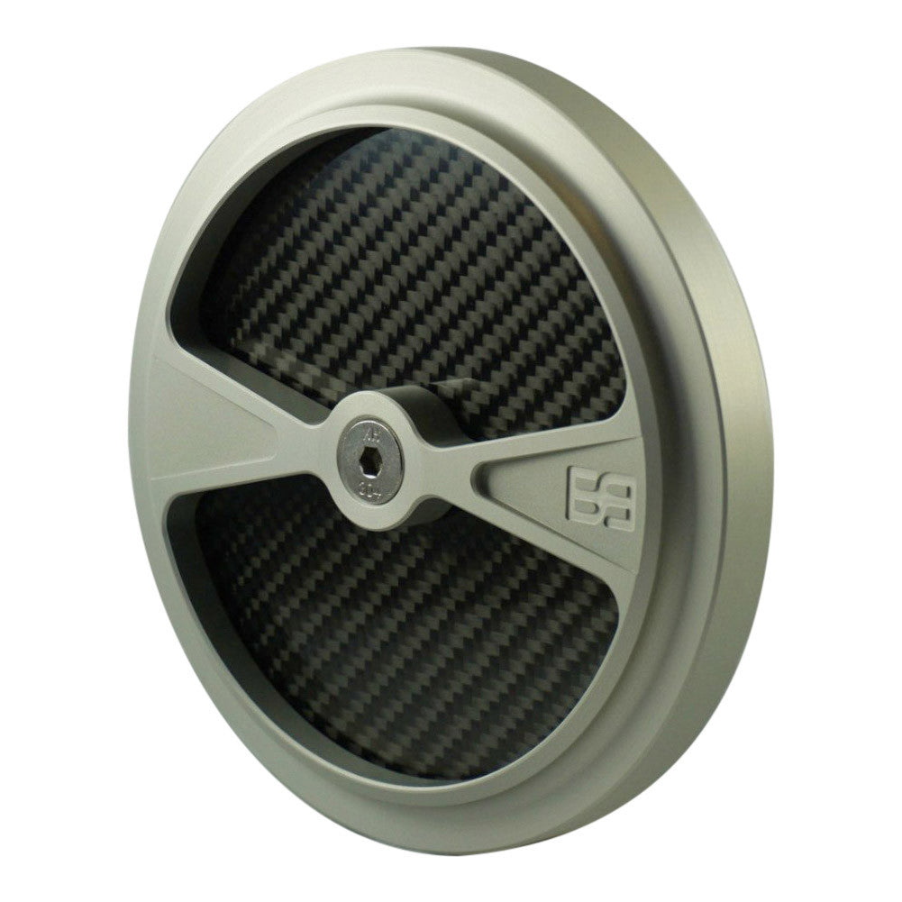 "Air Cleaner Cover, 5-1/2"" diameter, clear, carbon fiber, brass balls cycles, f1"