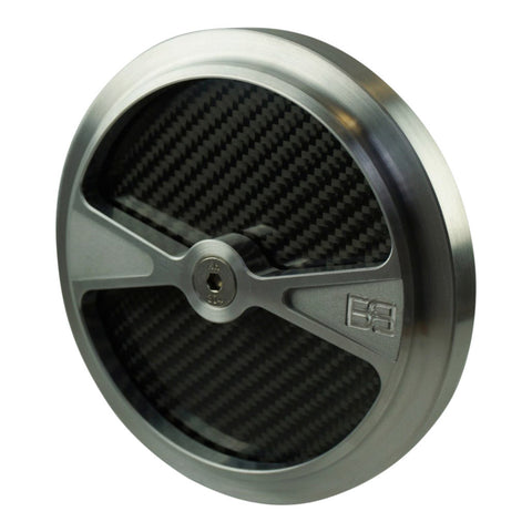 "Air Cleaner Cover, 5-1/2"" diameter, natural, carbon fiber, brass balls cycles, f1"