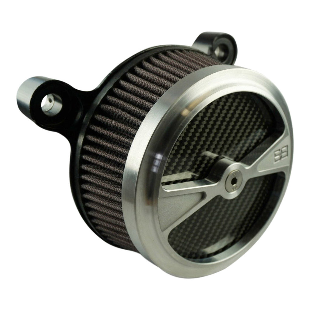 "Air Cleaner, Harley Davidson Big Twin motorcycles, 5-1/2"" diameter, natural, carbon fiber, brass balls cycles, f1"
