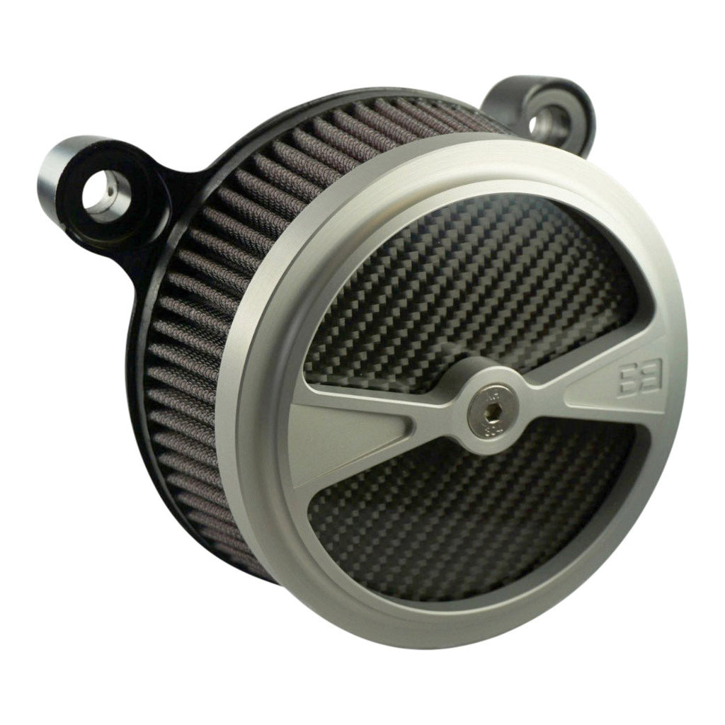 "Air Cleaner, Harley Davidson Big Twin motorcycles, 5-1/2"" diameter, clear, carbon fiber, brass balls cycles, f1"