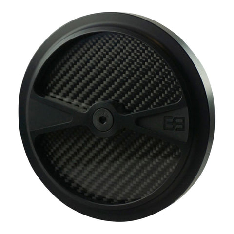 "Air Cleaner Cover, 5-1/2"" diameter, black, carbon fiber, brass balls cycles, f1"
