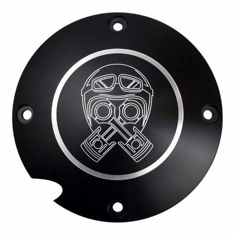 Derby Cover from Brass Balls Cycles with the Piston-Helmet design, for Sportsters 96-03 harley davidson motorcycles
