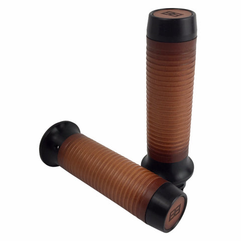 Leather Moto Grips - Black Aluminum/Tan Ribbed