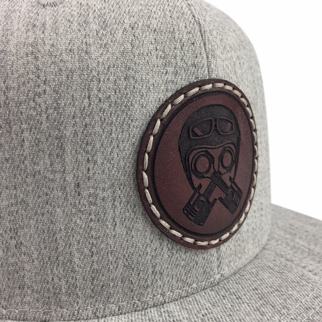 Leather Patch Cap, Piston-Helmet, Light Gray
