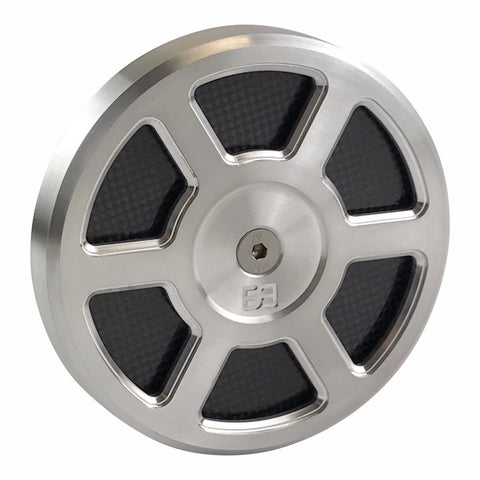 "Air Cleaner Cover, 5-1/2"" diameter, natural, carbon fiber, brass balls cycles, Defender"