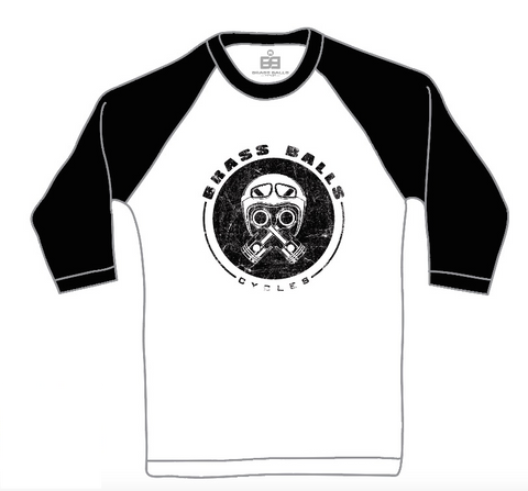 Piston Helmet 3/4 Sleeve Tee - White w/ Black Sleeves