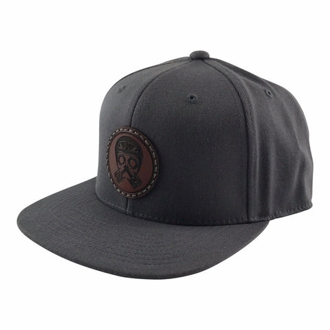 Leather Patch Cap, Piston-Helmet, Charcoal