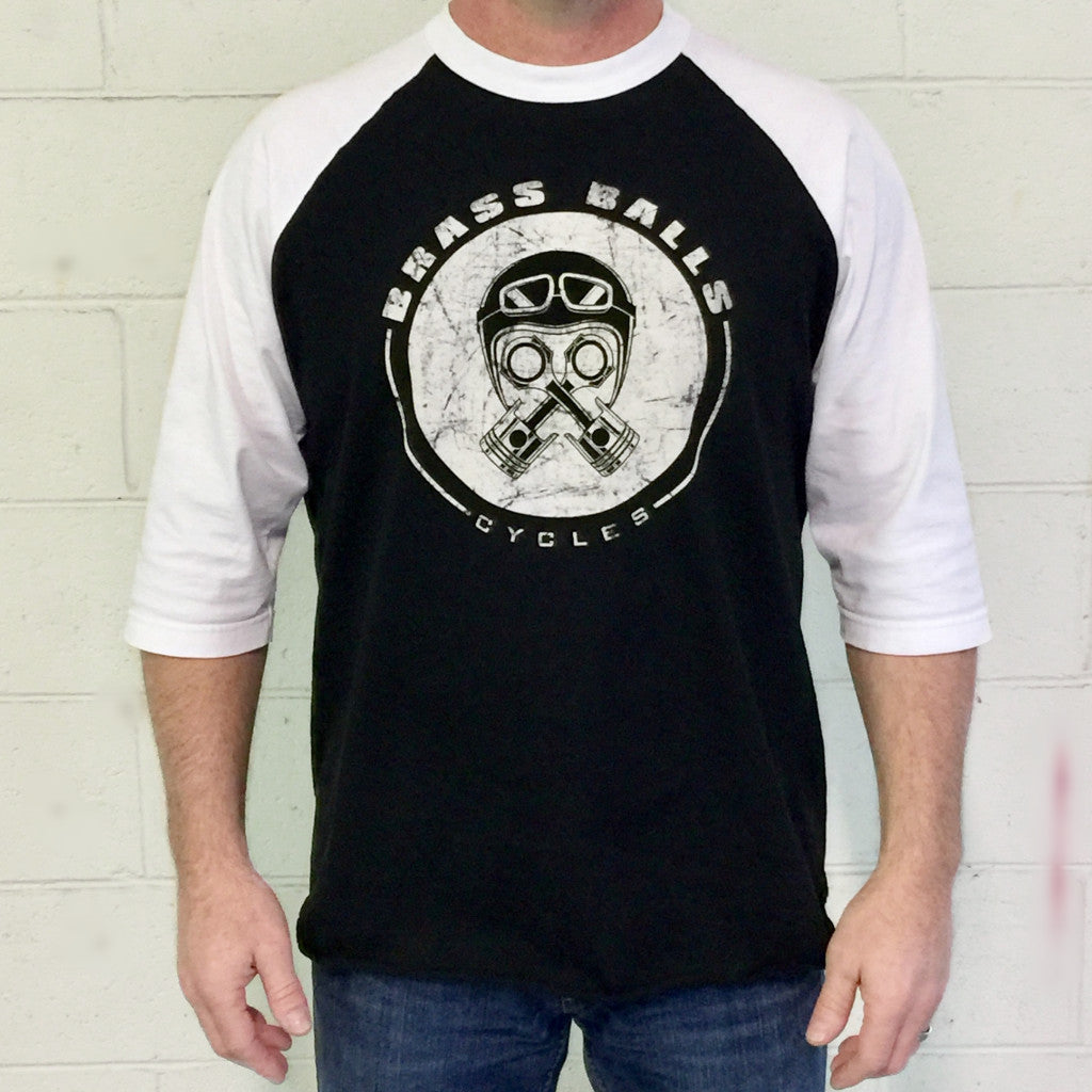 Piston Helmet 3/4 Sleeve Tee - Black w/ White Sleeves