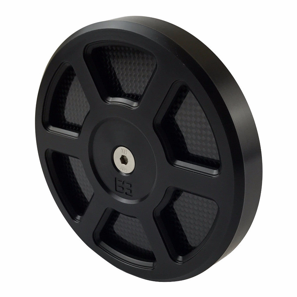 "Air Cleaner Cover, 5-1/2"" diameter, black, carbon fiber, brass balls cycles, Defender"