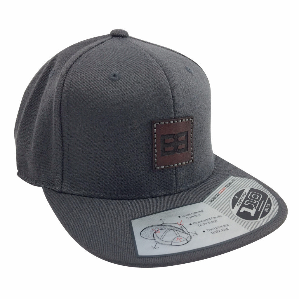 Leather Patch Cap, BB Logo, Charcoal