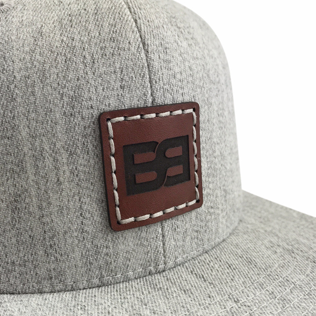 Leather Patch Cap, BB Logo, Light Grey