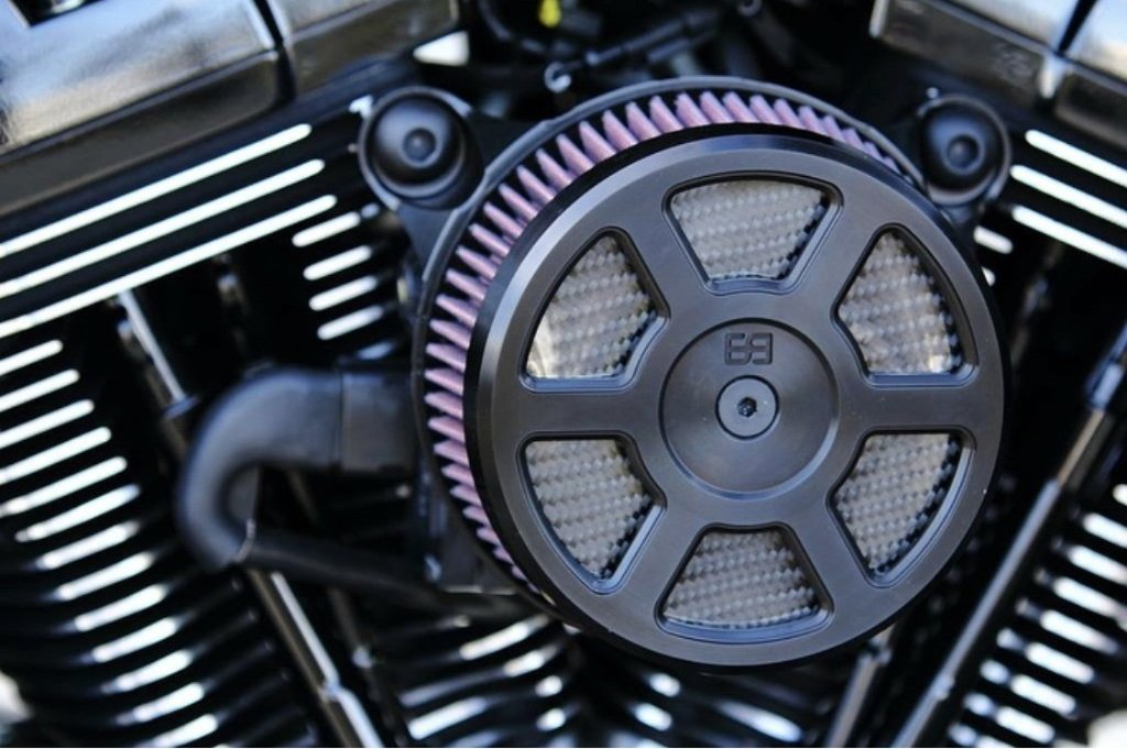 "Harley Davidson, Air Cleaner Cover, 5-1/2"" diameter, black, carbon fiber, brass balls cycles, Defender"