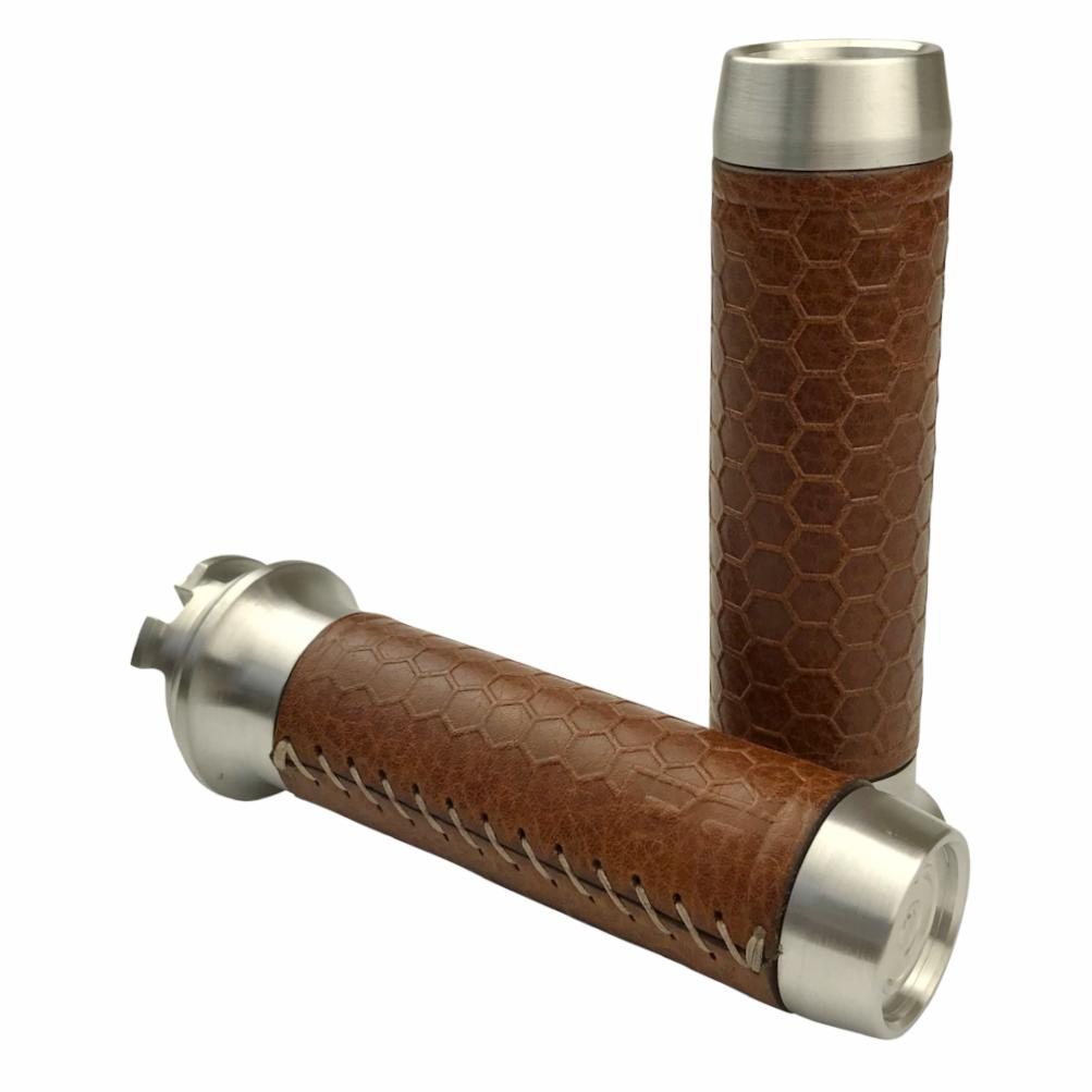 Leather Moto Grips - Indian Scout - Natural Aluminum/Tan Honeycomb