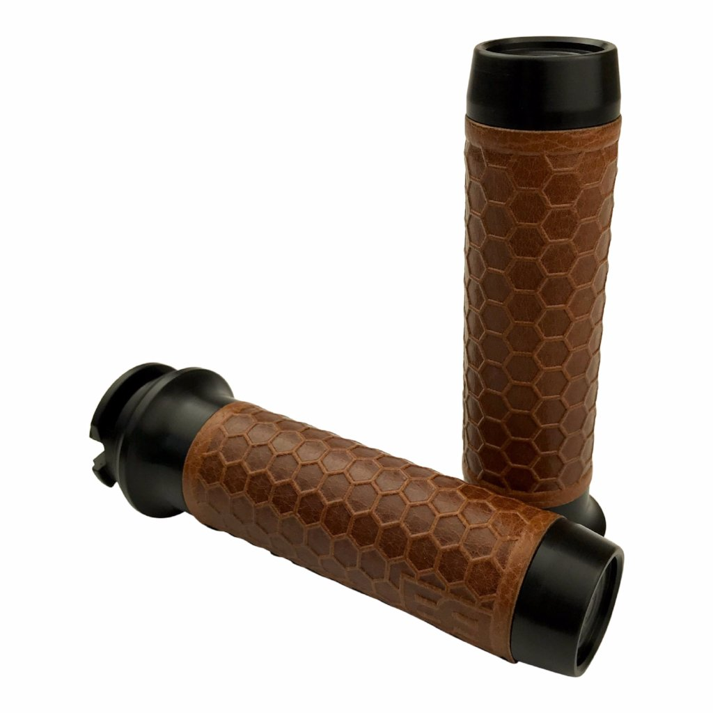 Leather Moto Grips - Indian Scout - Black Aluminum/Tan Honeycomb