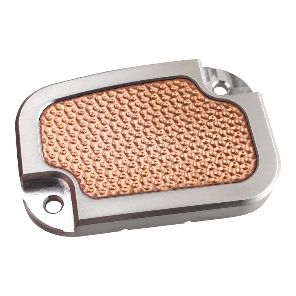 Master Cyl Cover Touring 2013-2018 Brushed with Hammered Copper Inlay