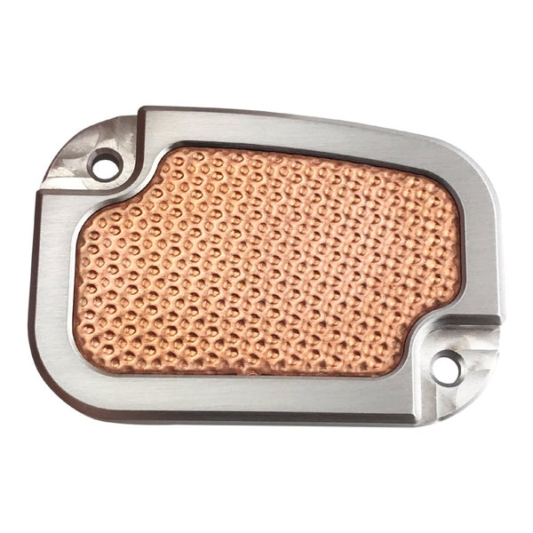 Copper Derby Cover : Master cyl cover h d touring  brushed w hammered