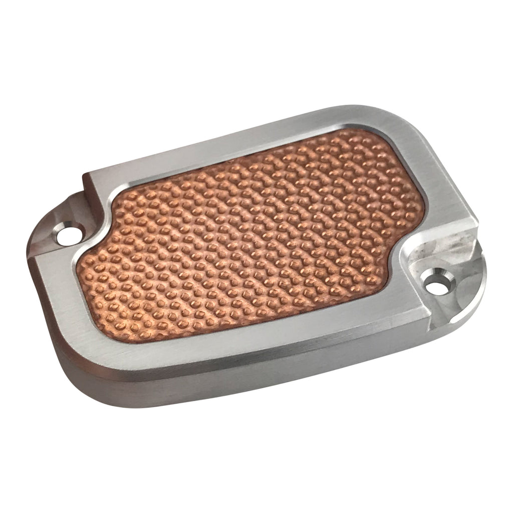 Clutch Master Cyl Cover Touring 2014-2018 Brushed with Hammered Copper Inlay