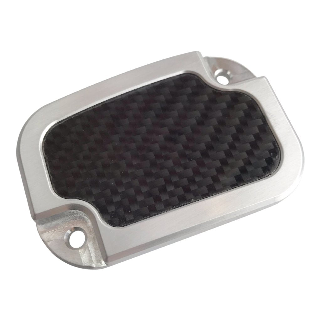 Master Cyl Cover Touring 2013-2018 Brushed with Carbon Fiber Inlay