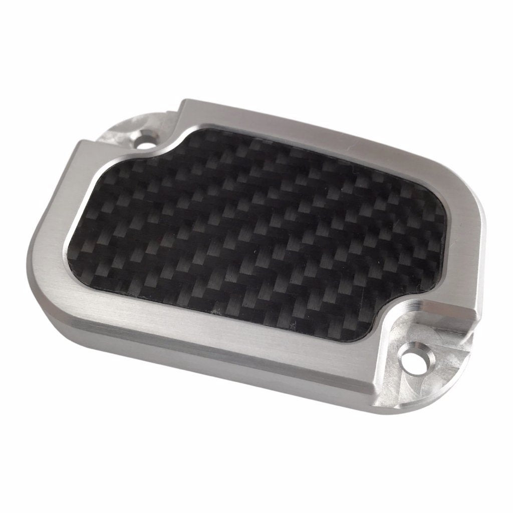 Clutch Master Cyl Cover Touring 2014-2018 Brushed with Carbon Fiber Inlay
