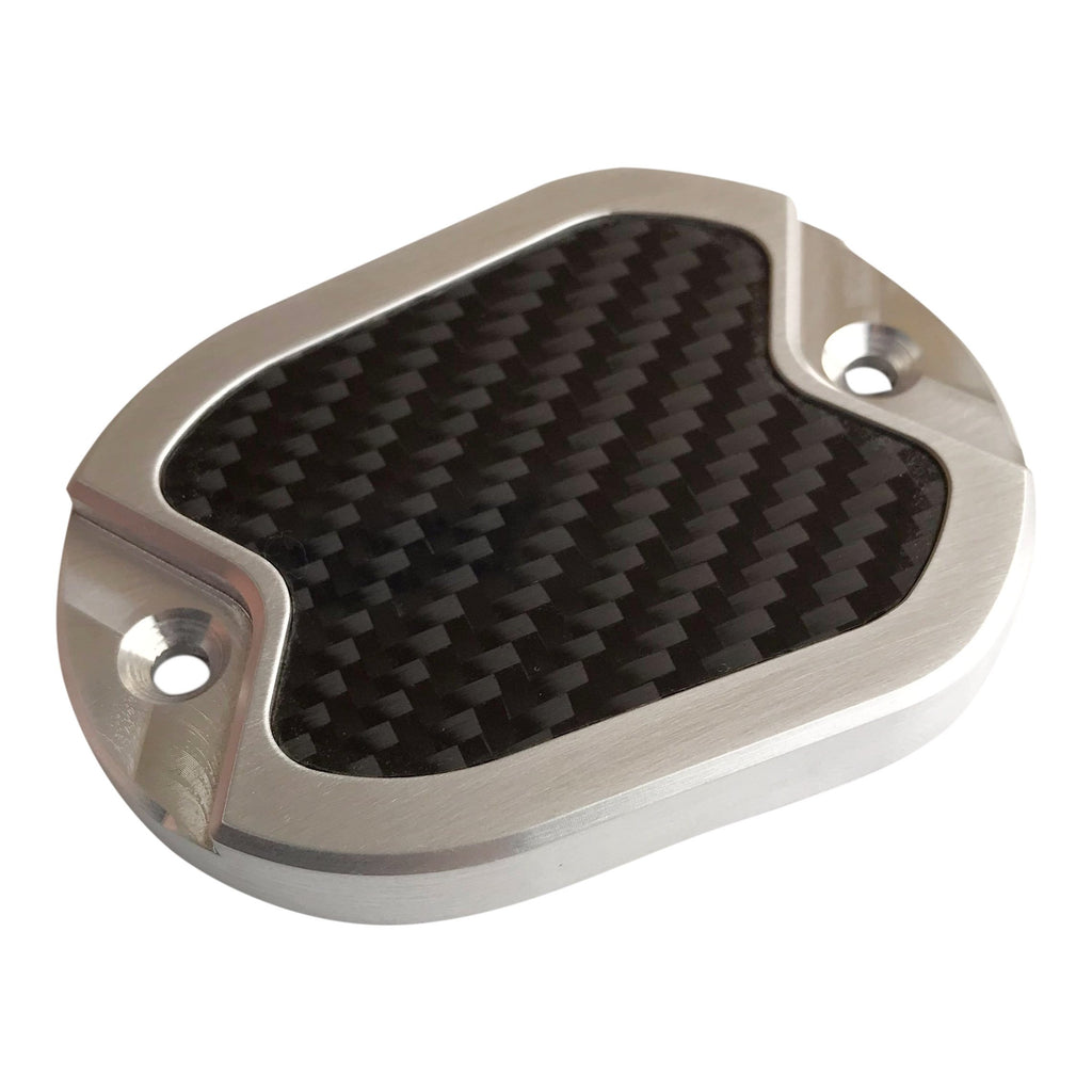 Master Cyl Cover Sportster 2004-2017 Brushed with Carbon Fiber Inlay