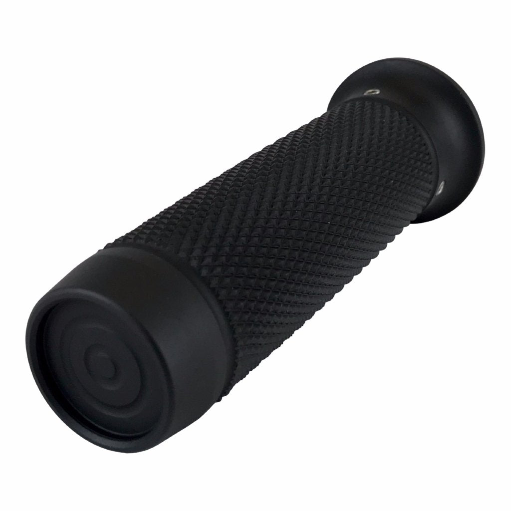 "Brass Balls Cycles, Harley Davidson and custom bikes, custom motorcycles, 1"" grips, knurled, Black anodized"