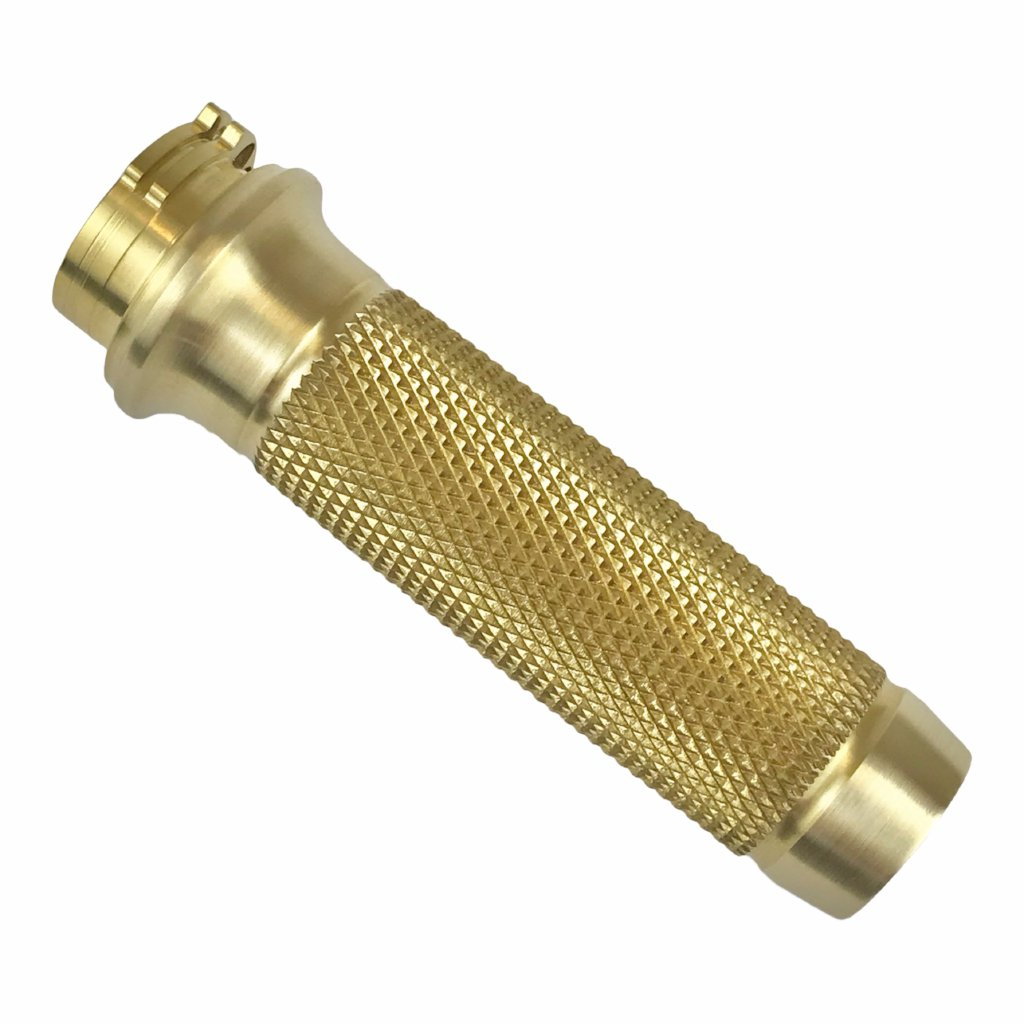 "Brass Balls Cycles, Harley Davidson and custom bikes, custom motorcycles, 1"" grips, knurled, brass"