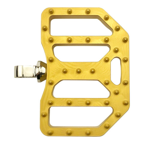 Mini Moto Boards, foot pegs by Brass Balls Cycles for Harley Dyna, FXR and touring passenger pegs, Gold