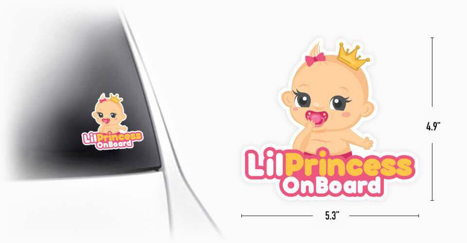 Lil Princess Baby On Board Sticker detailed specs