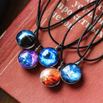 Galaxy Nebula Star Double Sided Glass Cabochon Globe Pendant Cord Necklaces