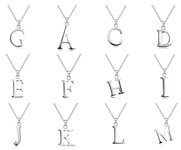 "Womens Dainty Silver English Capital Letter Initial Pendant Necklace 18"" 925 Silver Chain Necklace"