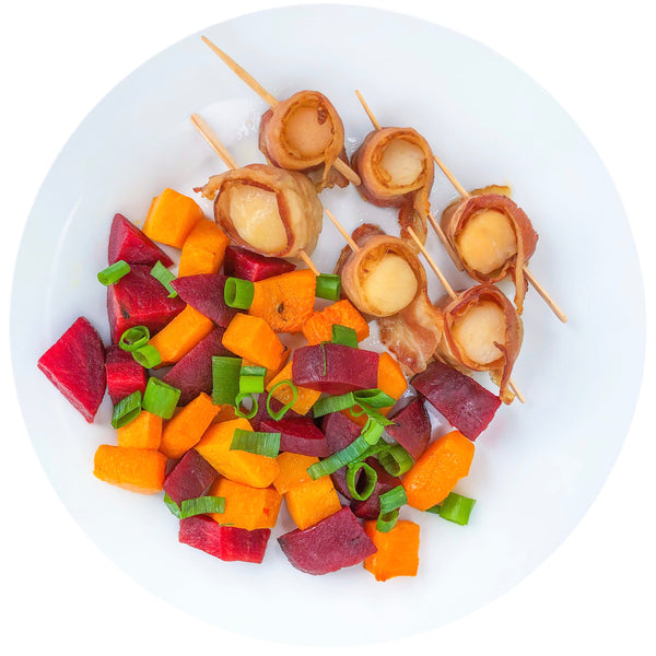 BACON WRAPPED SCALLOPS with ROASTED BEATS AND BUTTERNUT SQUASH
