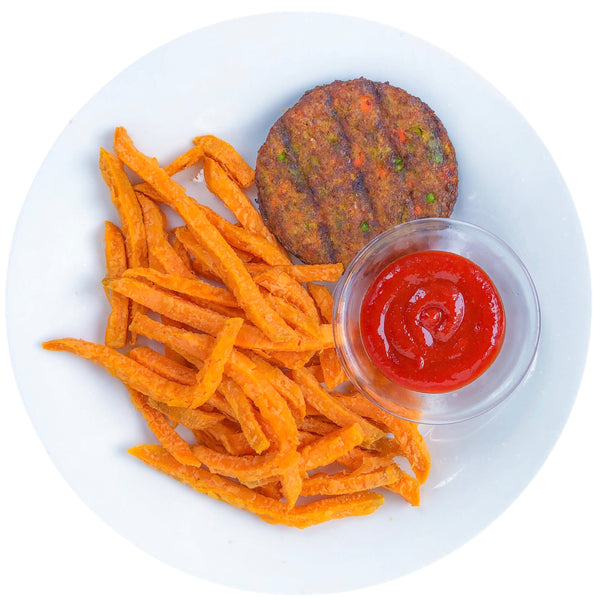 SMOKED VEGETABLE BURGER WITH SWEET POTATOES
