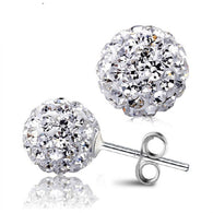 8 MM Shamballa Earrings CZ Stud