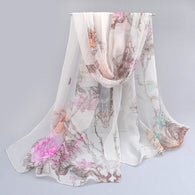 2016 New Womens Scarf Spring Fashion Thin Long Georgette Silk Print Shawl And Scarves Wrap Brand From India Foulard