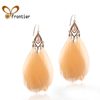 Feather Long dangle Drop Earrings