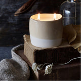 Candle Library - two tone candle Bergamot, leather and Patchouli scent | Simple Palette
