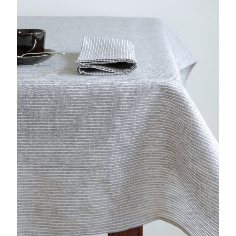 Fog Linen Napkin - Grey White Stripe | Simple Palette