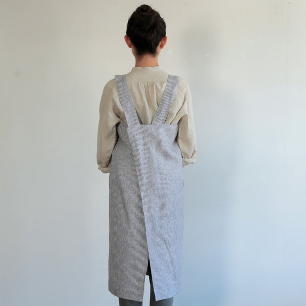 Fog Linen Square Cross Apron - Grey White Stripe