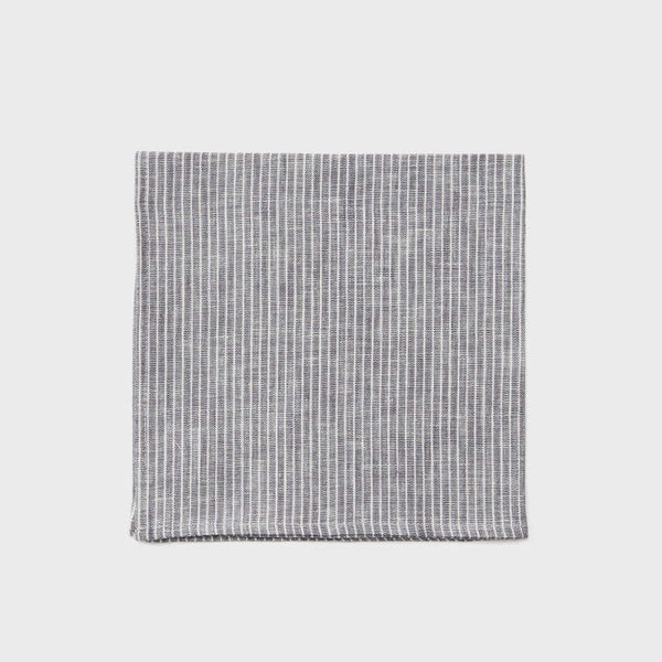 Fog Linen Napkin - Grey White Stripe