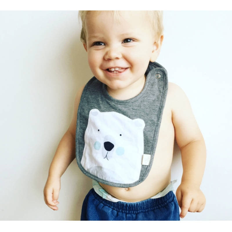 Mister Fly - Cute playful simple polar bear face bib | Shop it at Simple Palette