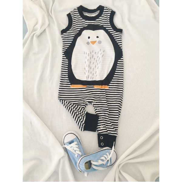 Mister Fly - 100% cotton jersey penguin romper | Shop it at Simple Palette