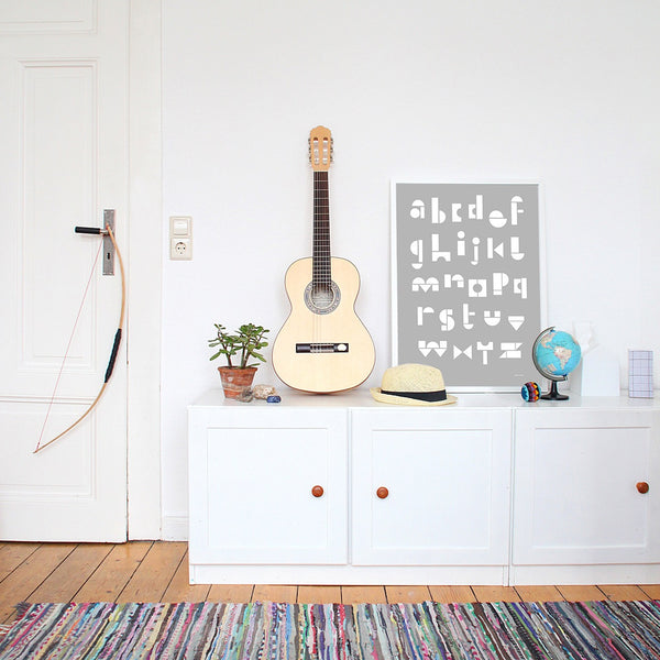 Snug ABC Art Print- Light Grey