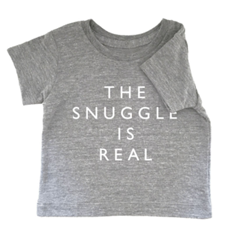 Cheerily - The snuggle is real grey marle baby cotton tee | Simple Palette